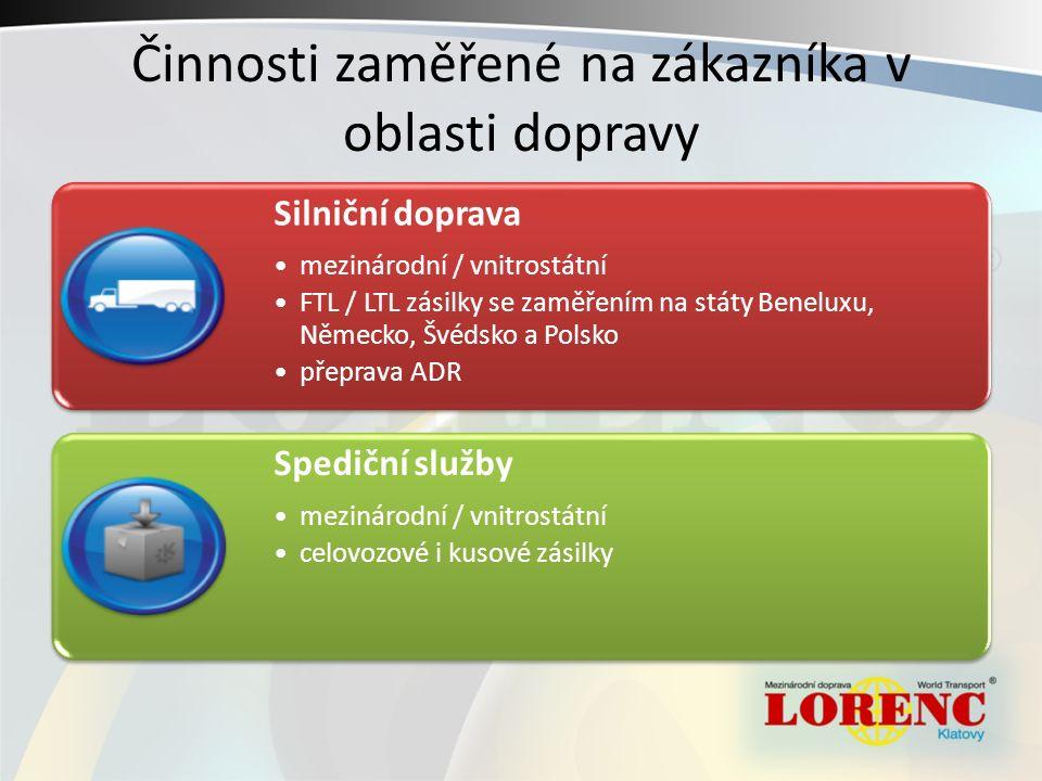 Činnosti zaměřené na zákazníka v oblasti dopravy Silniční doprava mezinárodní / vnitrostátní FTL / LTL zásilky se zaměřením na státy Beneluxu, Německo, Švédsko a Polsko přeprava ADR Spediční služby mezinárodní / vnitrostátní celovozové i kusové zásilky