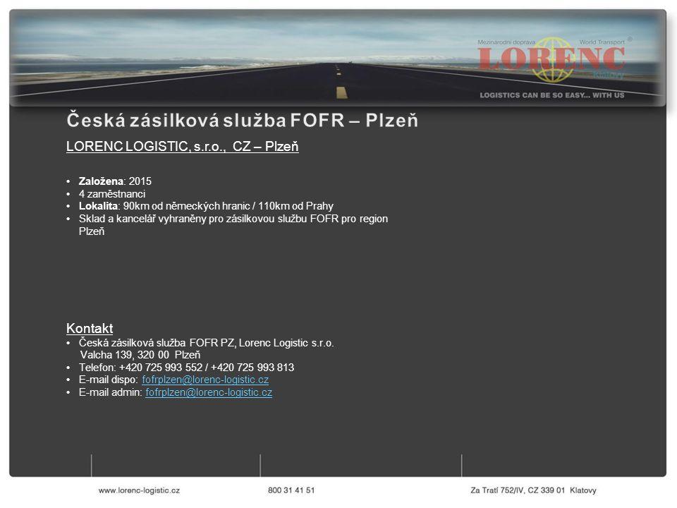 Kontakt Česká zásilková služba FOFR PZ, Lorenc Logistic s.r.o.