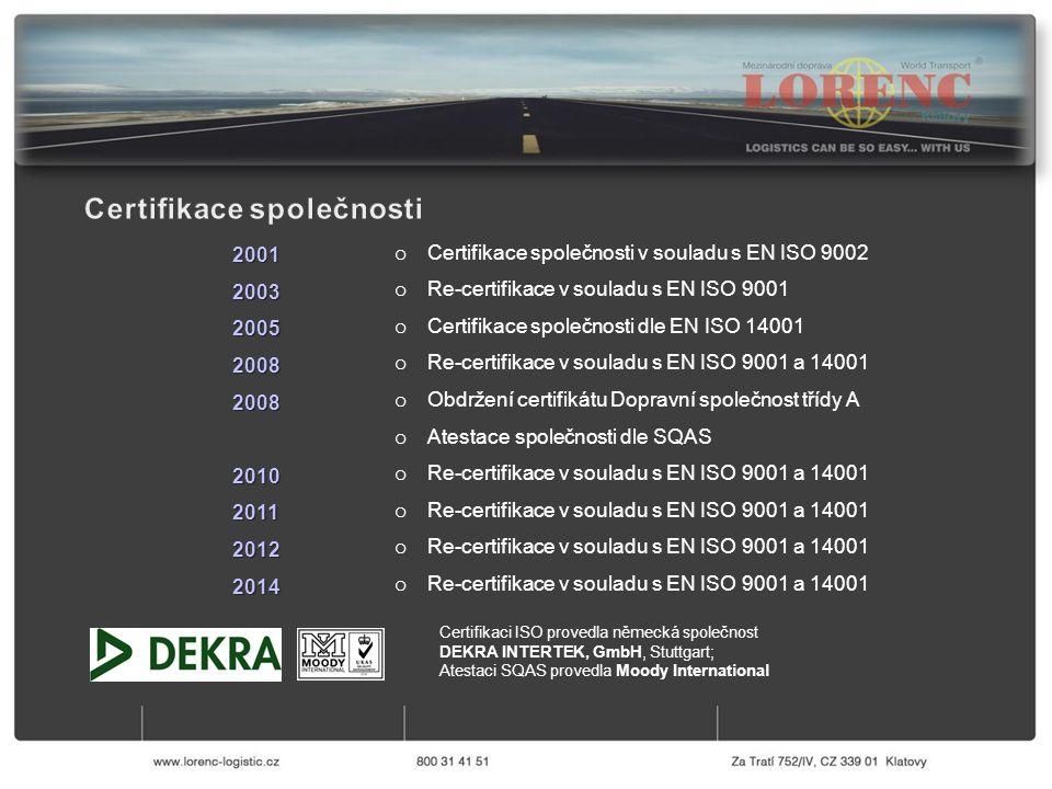 o Certifikace společnosti v souladu s EN ISO 9002 o Re-certifikace v souladu s EN ISO 9001 o Certifikace společnosti dle EN ISO 14001 o Re-certifikace v souladu s EN ISO 9001 a 14001 o Obdržení certifikátu Dopravní společnost třídy A o Atestace společnosti dle SQAS o Re-certifikace v souladu s EN ISO 9001 a 14001 200120032005200820082010201120122014 Certifikaci ISO provedla německá společnost DEKRA INTERTEK, GmbH, Stuttgart; Atestaci SQAS provedla Moody International