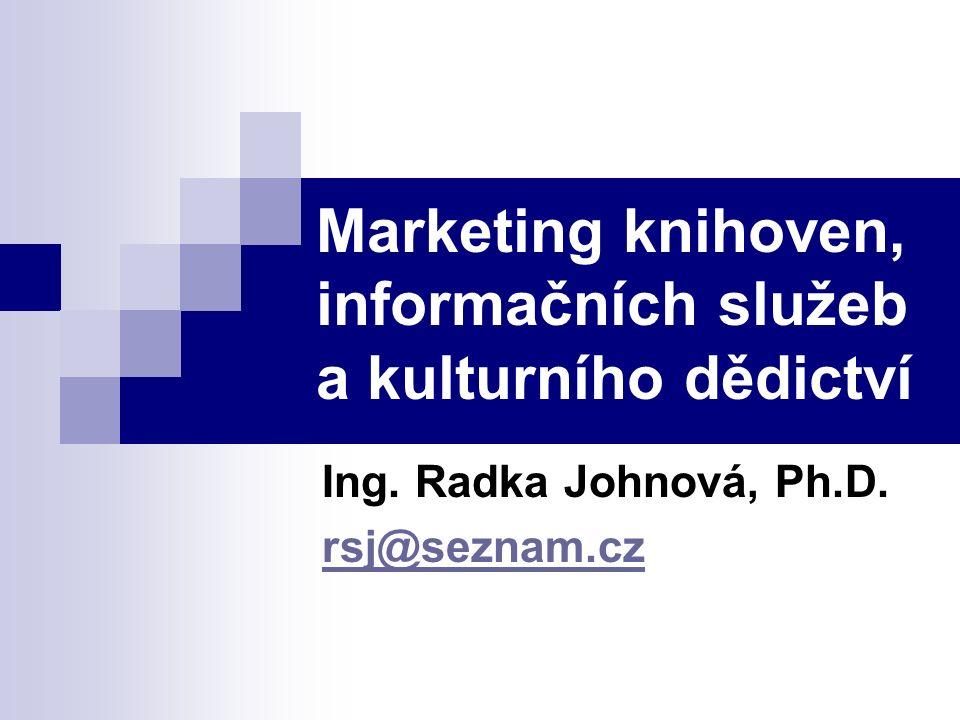 Marketing knihoven, informačních služeb a kulturního dědictví Ing. Radka Johnová, Ph.D. rsj@seznam.cz