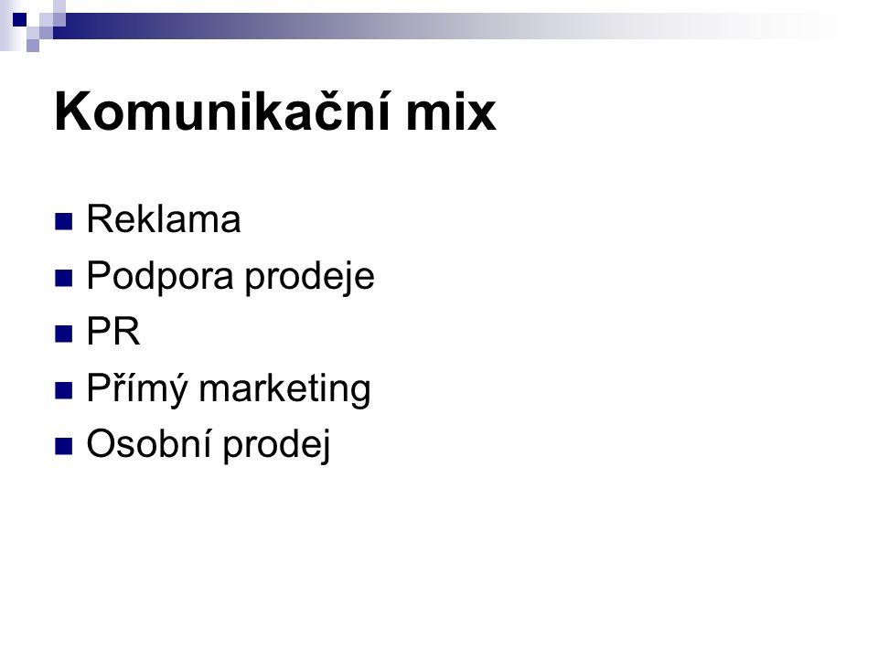 Komunikační mix Reklama Podpora prodeje PR Přímý marketing Osobní prodej