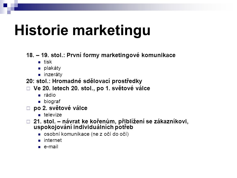 Historie marketingu 18. – 19.