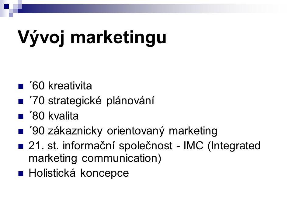 Vývoj marketingu ´60 kreativita ´70 strategické plánování ´80 kvalita ´90 zákaznicky orientovaný marketing 21. st. informační společnost - IMC (Integr