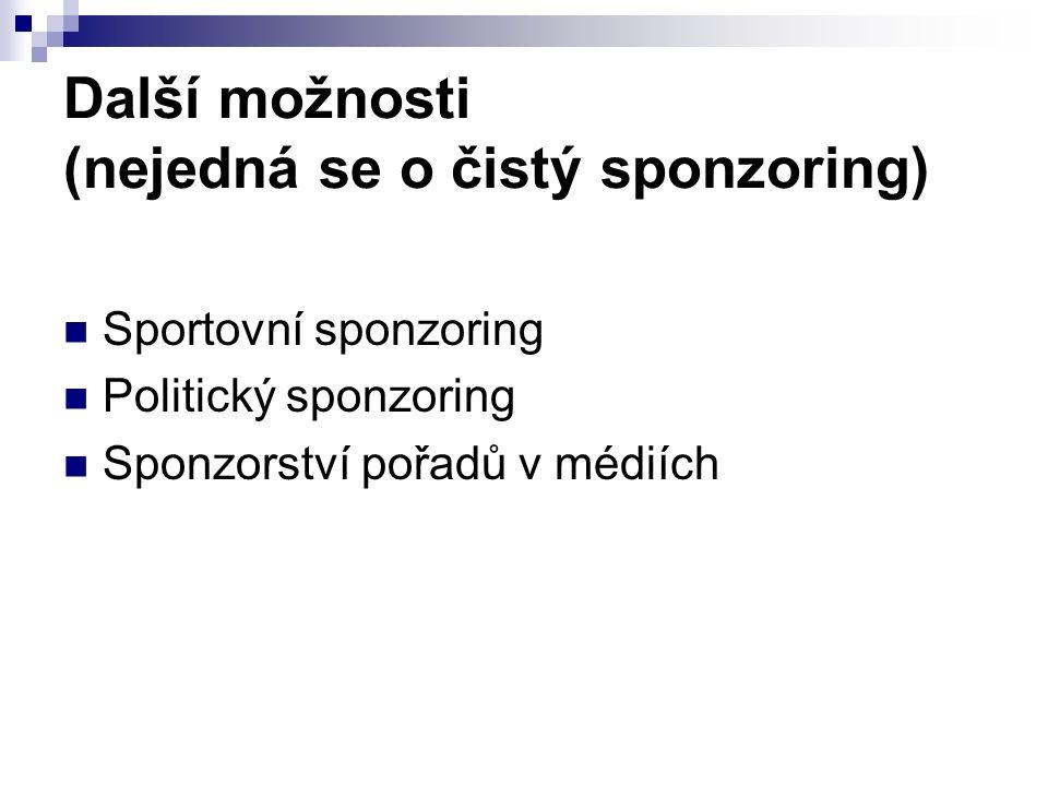 Další možnosti (nejedná se o čistý sponzoring) Sportovní sponzoring Politický sponzoring Sponzorství pořadů v médiích