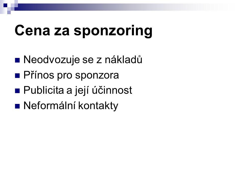 Cena za sponzoring Neodvozuje se z nákladů Přínos pro sponzora Publicita a její účinnost Neformální kontakty
