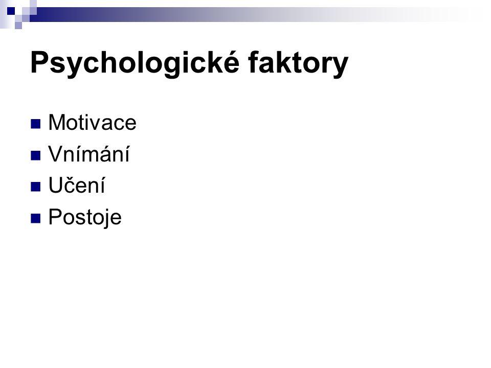 Psychologické faktory Motivace Vnímání Učení Postoje
