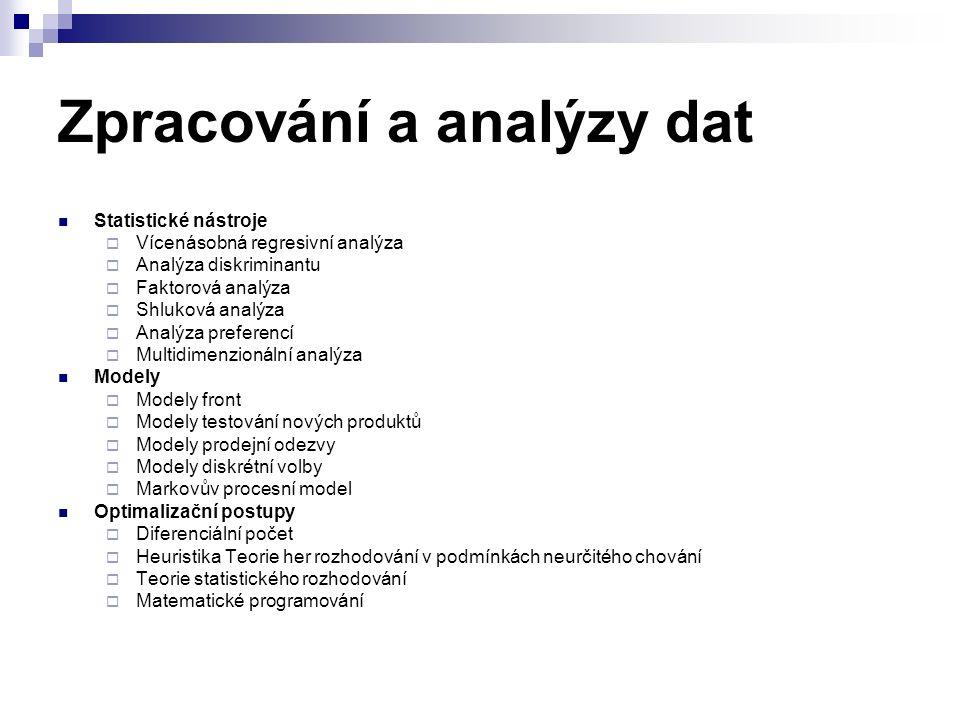 Zpracování a analýzy dat Statistické nástroje  Vícenásobná regresivní analýza  Analýza diskriminantu  Faktorová analýza  Shluková analýza  Analýz