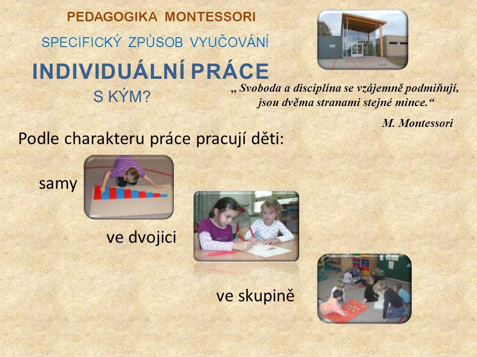 Podle charakteru práce pracují děti: samy ve dvojici ve skupině PEDAGOGIKA MONTESSORI SPECIFICKÝ ZPŮSOB VYUČOVÁNÍ S KÝM.