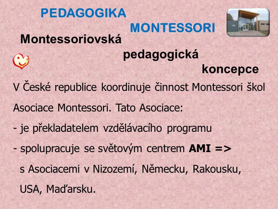 Montessoriovská pedagogická koncepce V České republice koordinuje činnost Montessori škol Asociace Montessori.