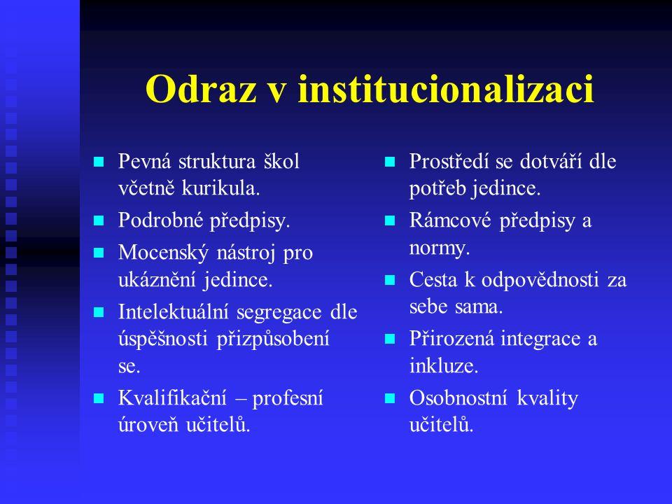 Odraz v institucionalizaci Pevná struktura škol včetně kurikula.
