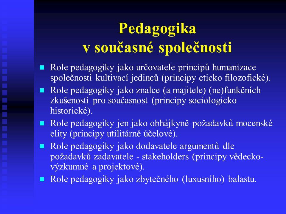 Pedagogika v současné společnosti Role pedagogiky jako určovatele principů humanizace společnosti kultivací jedinců (principy eticko filozofické).