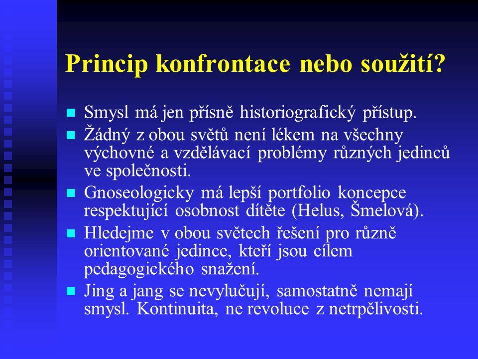Princip konfrontace nebo soužití. Smysl má jen přísně historiografický přístup.