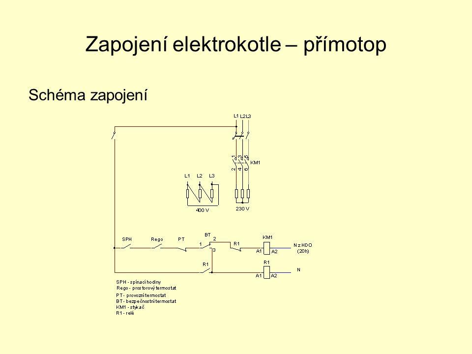 Elektrokotel – přímotop Topná spirála se zapojuje do hvězdy (230V) Topná spirála se zapojuje do trojúhelníka (400V) Regem nastavíme teplotu vytápěného prostoru Provozní termostatem nastavíme teplotu vody v topení Bezpečnostní termostat a relé má funkci tepelné pojistky (zablokuje topení při poruše provozního termostatu) Spínacími hodinami (denní nebo týdenní) nastavíme časový režim topení