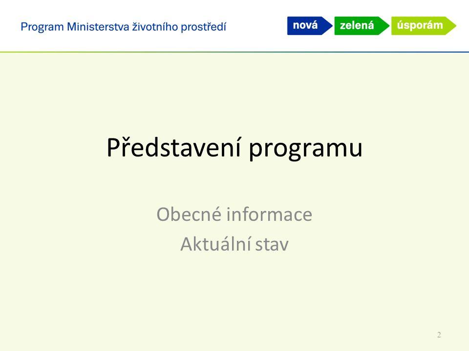 Představení programu Obecné informace Aktuální stav 2