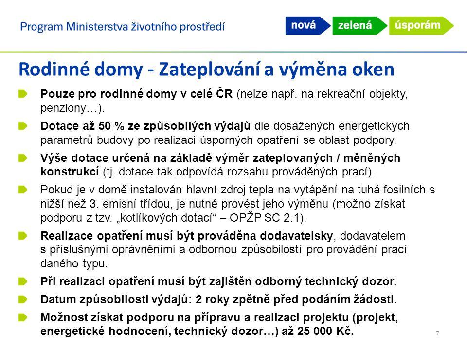 Rodinné domy - Zateplování a výměna oken Pouze pro rodinné domy v celé ČR (nelze např.