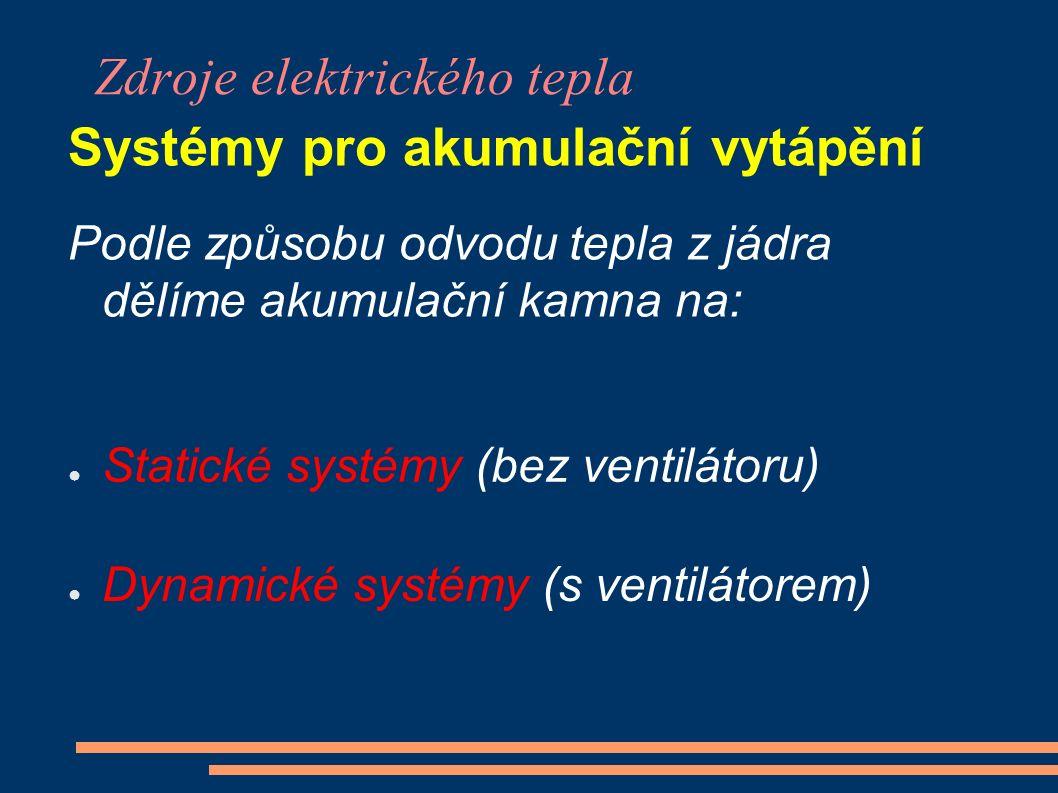 Zdroje elektrického tepla Systémy pro akumulační vytápění Podle způsobu odvodu tepla z jádra dělíme akumulační kamna na: ● Statické systémy (bez ventilátoru) ● Dynamické systémy (s ventilátorem)