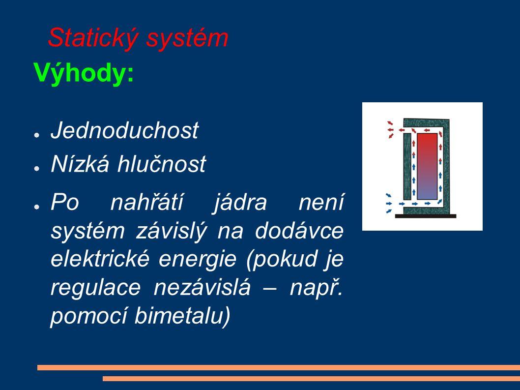 Statický systém Výhody: ● Jednoduchost ● Nízká hlučnost ● Po nahřátí jádra není systém závislý na dodávce elektrické energie (pokud je regulace nezávislá – např.