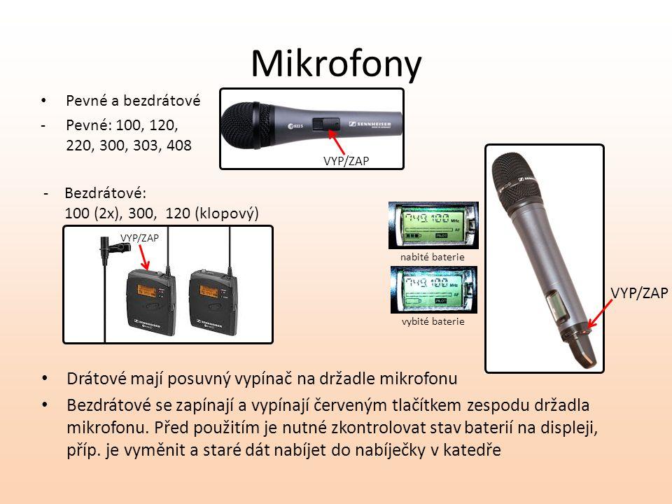 Mikrofony Pevné a bezdrátové -Pevné: 100, 120, 220, 300, 303, 408 Drátové mají posuvný vypínač na držadle mikrofonu Bezdrátové se zapínají a vypínají červeným tlačítkem zespodu držadla mikrofonu.