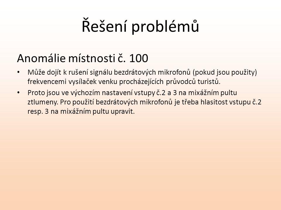 Řešení problémů Anomálie místnosti č. 100 Může dojít k rušení signálu bezdrátových mikrofonů (pokud jsou použity) frekvencemi vysílaček venku procháze