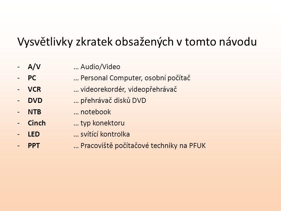 Vysvětlivky zkratek obsažených v tomto návodu -A/V… Audio/Video -PC… Personal Computer, osobní počítač -VCR… videorekordér, videopřehrávač -DVD… přehrávač disků DVD -NTB… notebook -Cinch… typ konektoru -LED… svítící kontrolka -PPT… Pracoviště počítačové techniky na PFUK