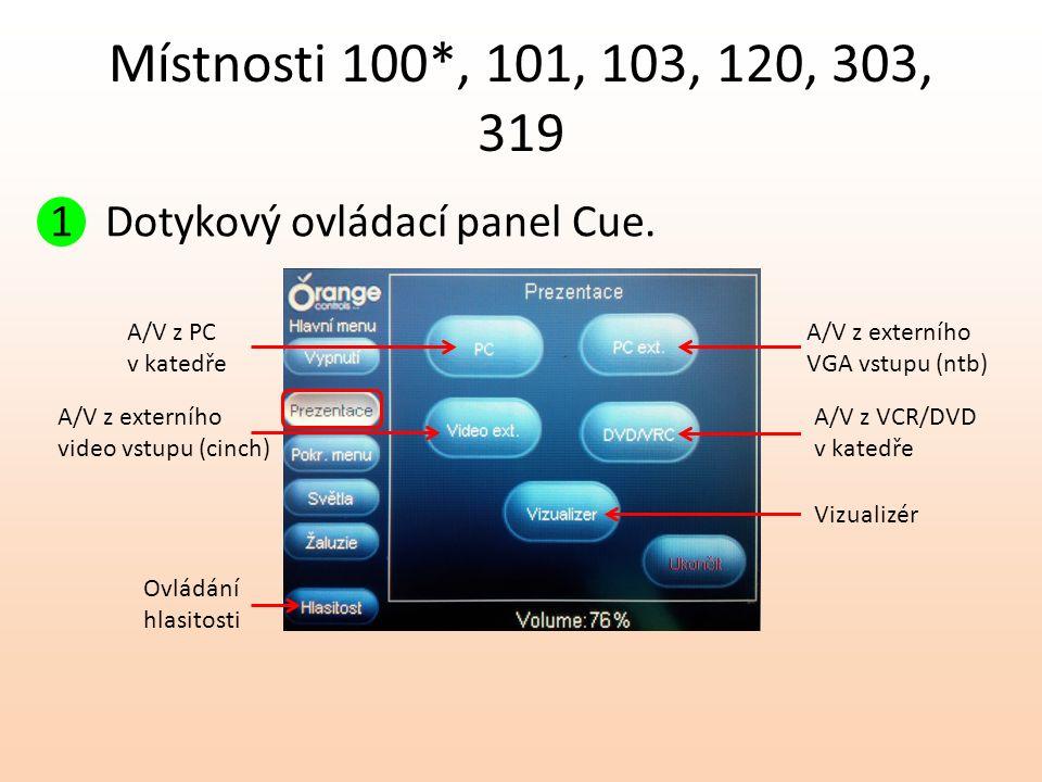 Místnosti 100*, 101, 103, 120, 303, 319 1 Dotykový ovládací panel Cue. A/V z PC v katedře A/V z externího video vstupu (cinch) A/V z externího VGA vst