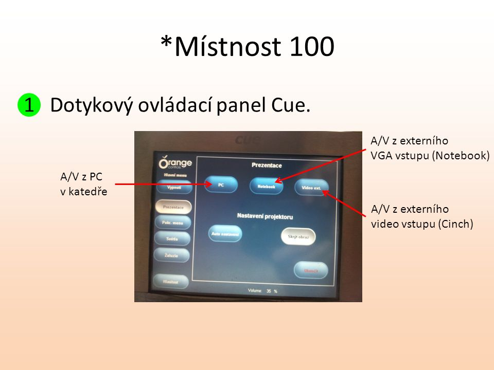 *Místnost 100 1 Dotykový ovládací panel Cue. A/V z PC v katedře A/V z externího video vstupu (Cinch) A/V z externího VGA vstupu (Notebook)