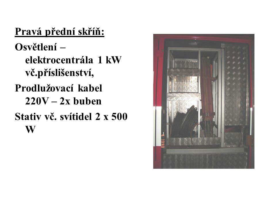 Pravá přední skříň: Osvětlení – elektrocentrála 1 kW vč.příslišenství, Prodlužovací kabel 220V – 2x buben Stativ vč.