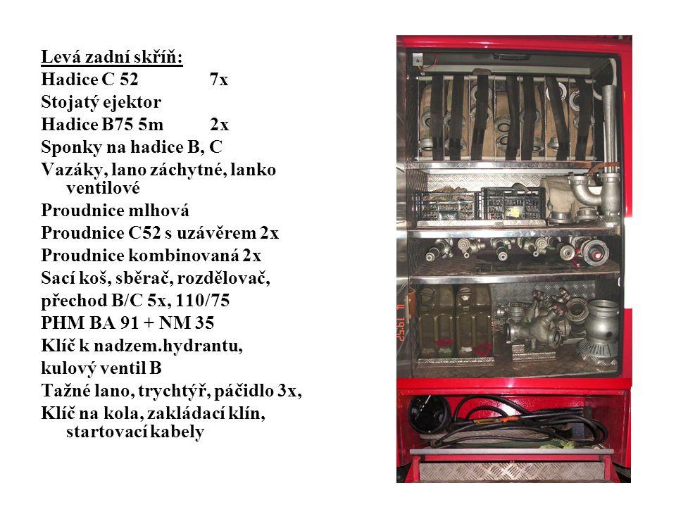 Levá zadní skříň: Hadice C 52 7x Stojatý ejektor Hadice B75 5m 2x Sponky na hadice B, C Vazáky, lano záchytné, lanko ventilové Proudnice mlhová Proudnice C52 s uzávěrem 2x Proudnice kombinovaná 2x Sací koš, sběrač, rozdělovač, přechod B/C 5x, 110/75 PHM BA 91 + NM 35 Klíč k nadzem.hydrantu, kulový ventil B Tažné lano, trychtýř, páčidlo 3x, Klíč na kola, zakládací klín, startovací kabely