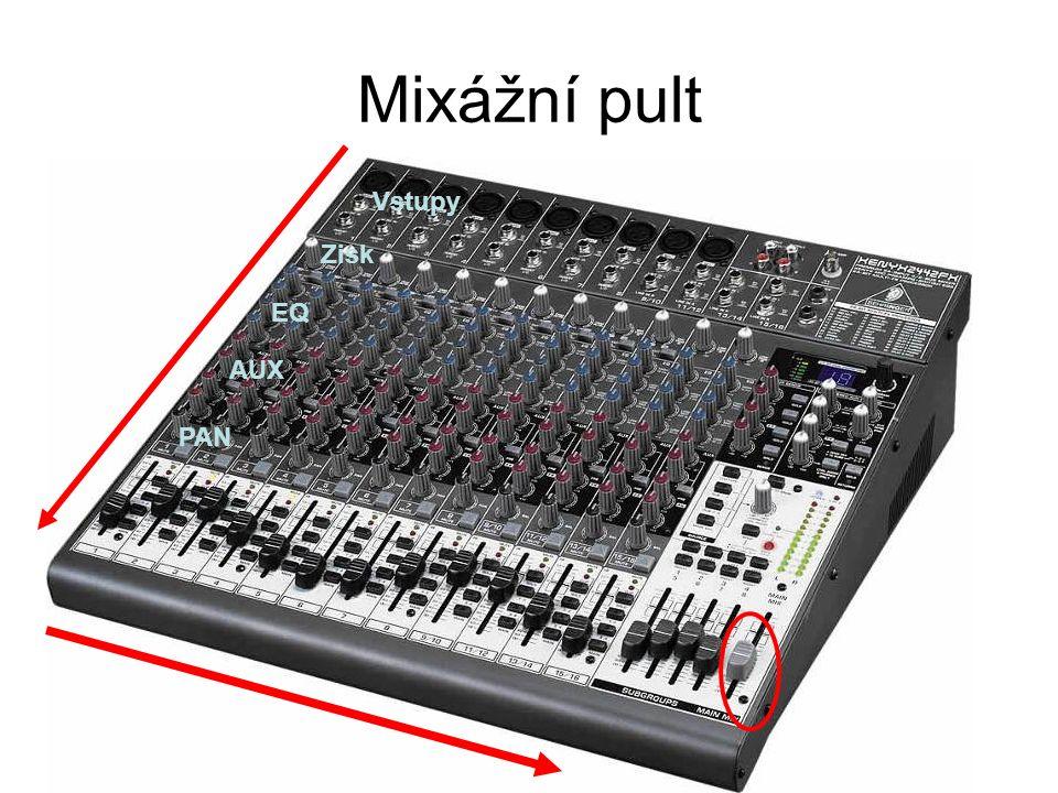 Mixážní pult Vstupy Zisk EQ AUX PAN
