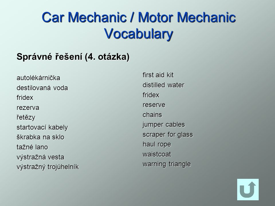 Car Mechanic / Motor Mechanic Vocabulary Správné řešení (4. otázka) autolékárnička destilovaná voda fridexrezervařetězy startovací kabely škrabka na s