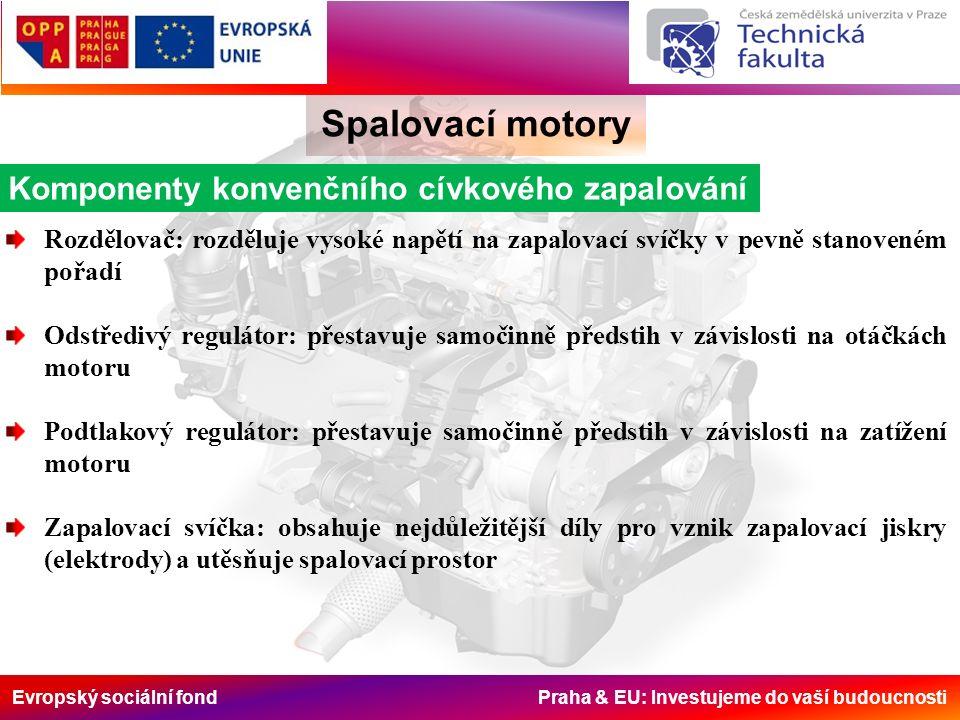 Evropský sociální fond Praha & EU: Investujeme do vaší budoucnosti Spalovací motory Komponenty konvenčního cívkového zapalování Rozdělovač: rozděluje vysoké napětí na zapalovací svíčky v pevně stanoveném pořadí Odstředivý regulátor: přestavuje samočinně předstih v závislosti na otáčkách motoru Podtlakový regulátor: přestavuje samočinně předstih v závislosti na zatížení motoru Zapalovací svíčka: obsahuje nejdůležitější díly pro vznik zapalovací jiskry (elektrody) a utěsňuje spalovací prostor