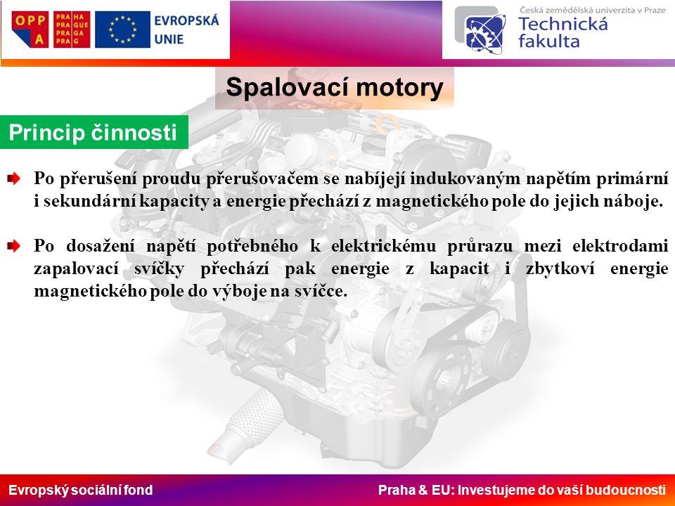 Evropský sociální fond Praha & EU: Investujeme do vaší budoucnosti Spalovací motory Princip činnosti Po přerušení proudu přerušovačem se nabíjejí indukovaným napětím primární i sekundární kapacity a energie přechází z magnetického pole do jejich náboje.