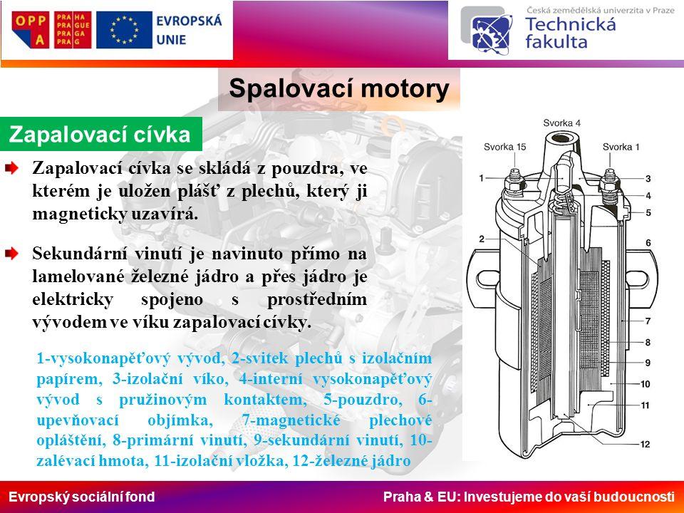 Evropský sociální fond Praha & EU: Investujeme do vaší budoucnosti Spalovací motory Zapalovací cívka Zapalovací cívka se skládá z pouzdra, ve kterém je uložen plášť z plechů, který ji magneticky uzavírá.