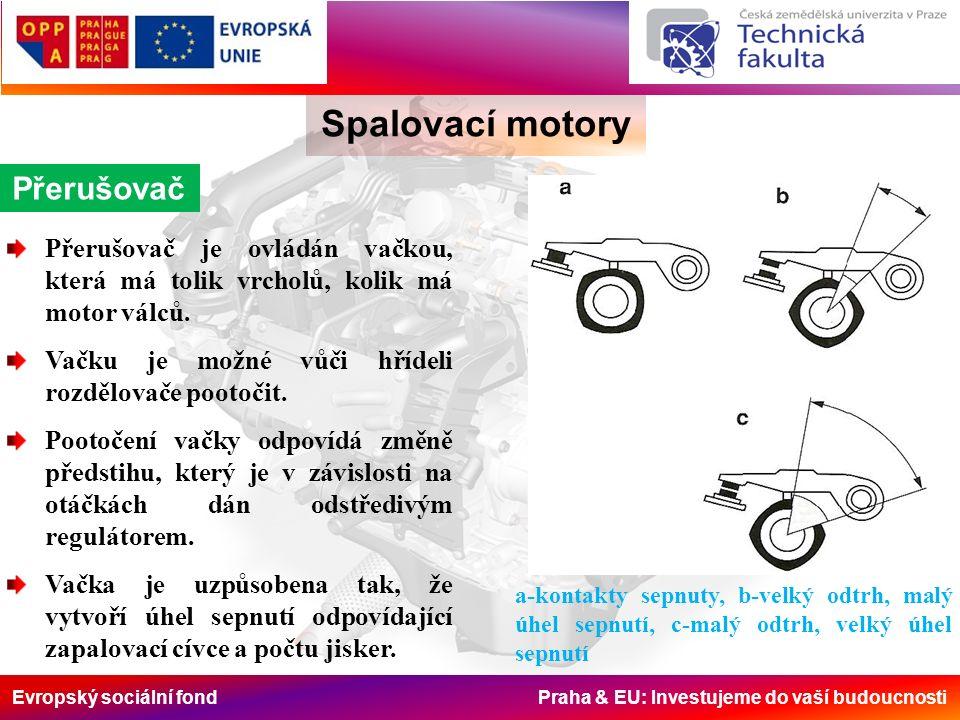 Evropský sociální fond Praha & EU: Investujeme do vaší budoucnosti Spalovací motory Přerušovač Přerušovač je ovládán vačkou, která má tolik vrcholů, kolik má motor válců.