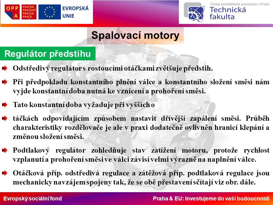 Evropský sociální fond Praha & EU: Investujeme do vaší budoucnosti Spalovací motory Regulátor předstihu Odstředivý regulátor s rostoucími otáčkami zvětšuje předstih.
