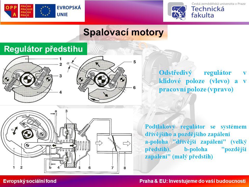 Evropský sociální fond Praha & EU: Investujeme do vaší budoucnosti Spalovací motory Regulátor předstihu Odstředivý regulátor v klidové poloze (vlevo) a v pracovní poloze (vpravo) Podtlakový regulátor se systémem dřívějšího a pozdějšího zapálení a-poloha dřívější zapálení (velký předstih), b-poloha pozdější zapálení (malý předstih)