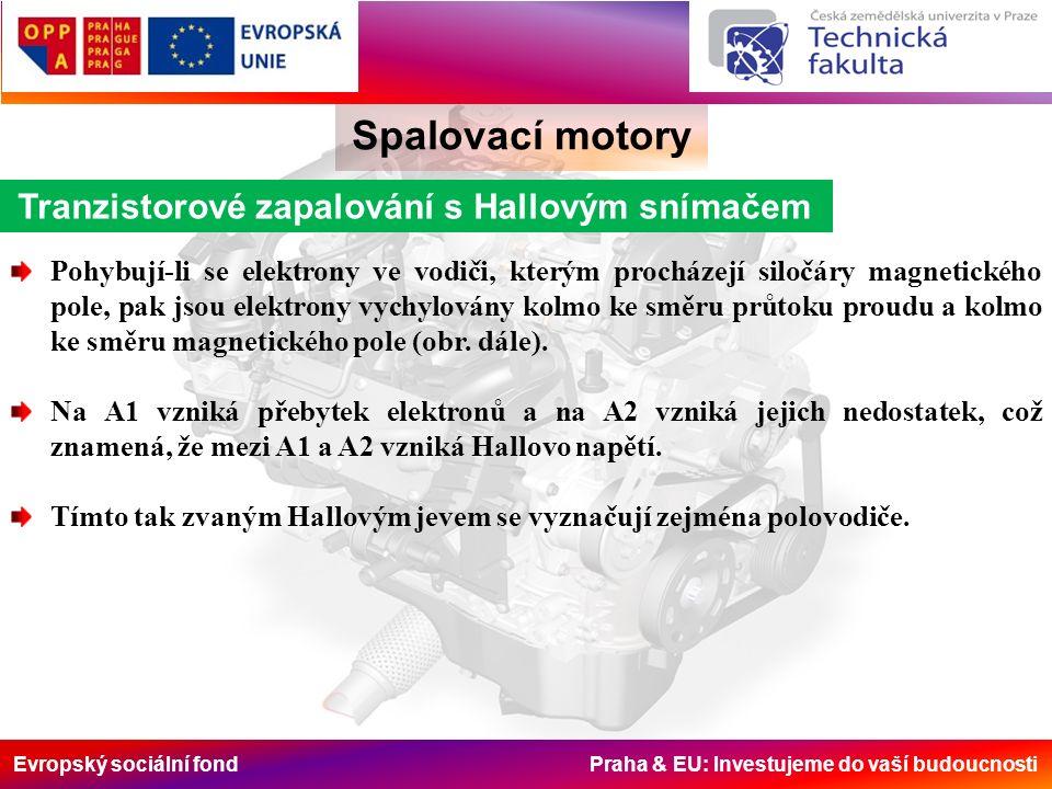 Evropský sociální fond Praha & EU: Investujeme do vaší budoucnosti Spalovací motory Tranzistorové zapalování s Hallovým snímačem Pohybují-li se elektrony ve vodiči, kterým procházejí siločáry magnetického pole, pak jsou elektrony vychylovány kolmo ke směru průtoku proudu a kolmo ke směru magnetického pole (obr.