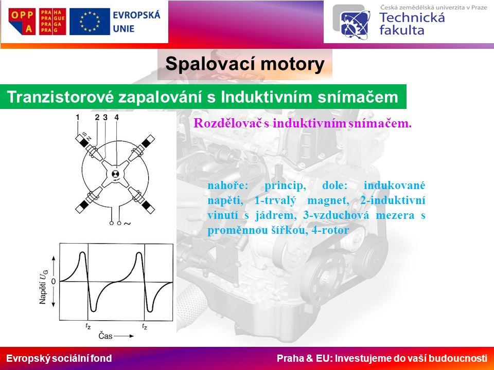 Evropský sociální fond Praha & EU: Investujeme do vaší budoucnosti Spalovací motory Tranzistorové zapalování s Induktivním snímačem nahoře: princip, dole: indukované napěti, 1-trvalý magnet, 2-induktivní vinutí s jádrem, 3-vzduchová mezera s proměnnou šířkou, 4-rotor Rozdělovač s induktivním snímačem.