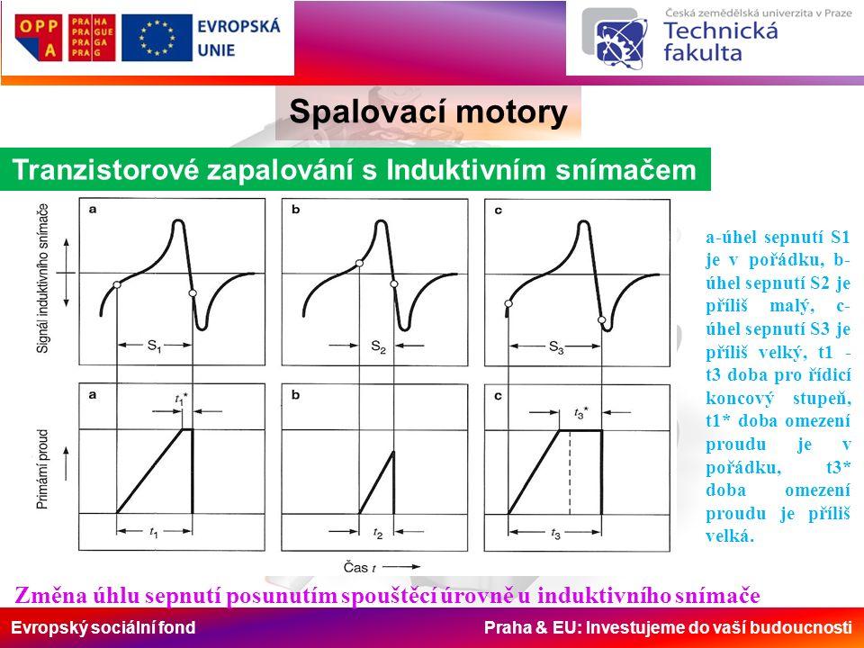 Evropský sociální fond Praha & EU: Investujeme do vaší budoucnosti Spalovací motory Tranzistorové zapalování s Induktivním snímačem a-úhel sepnutí S1 je v pořádku, b- úhel sepnutí S2 je příliš malý, c- úhel sepnutí S3 je příliš velký, t1 - t3 doba pro řídicí koncový stupeň, t1* doba omezení proudu je v pořádku, t3* doba omezení proudu je příliš velká.