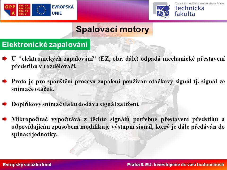 Evropský sociální fond Praha & EU: Investujeme do vaší budoucnosti Spalovací motory Elektronické zapalování U elektronických zapalování (EZ, obr.