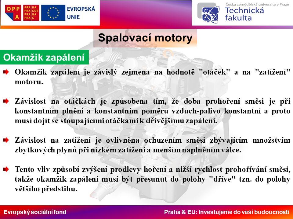 Evropský sociální fond Praha & EU: Investujeme do vaší budoucnosti Spalovací motory Okamžik zapálení Okamžik zapálení je závislý zejména na hodnotě otáček a na zatížení motoru.