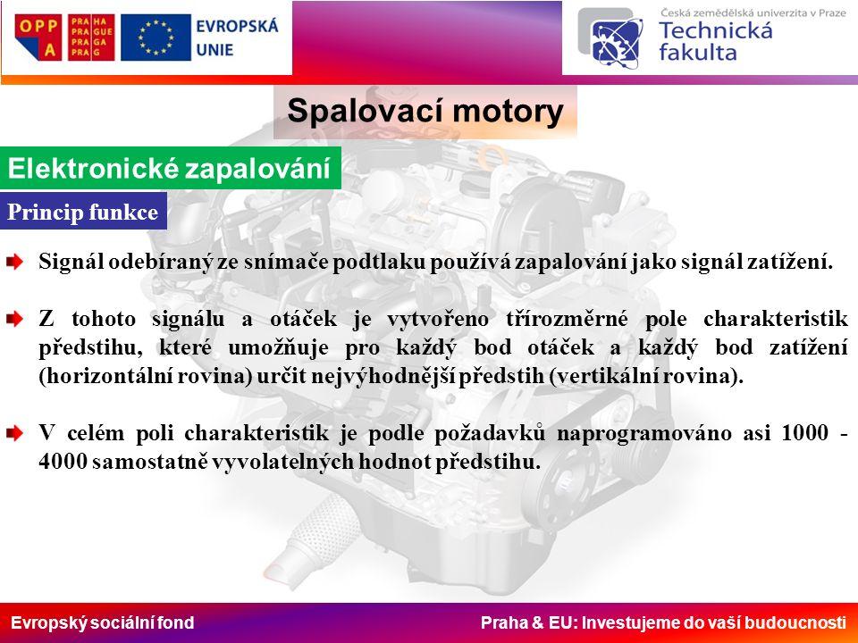 Evropský sociální fond Praha & EU: Investujeme do vaší budoucnosti Spalovací motory Elektronické zapalování Princip funkce Signál odebíraný ze snímače podtlaku používá zapalování jako signál zatížení.