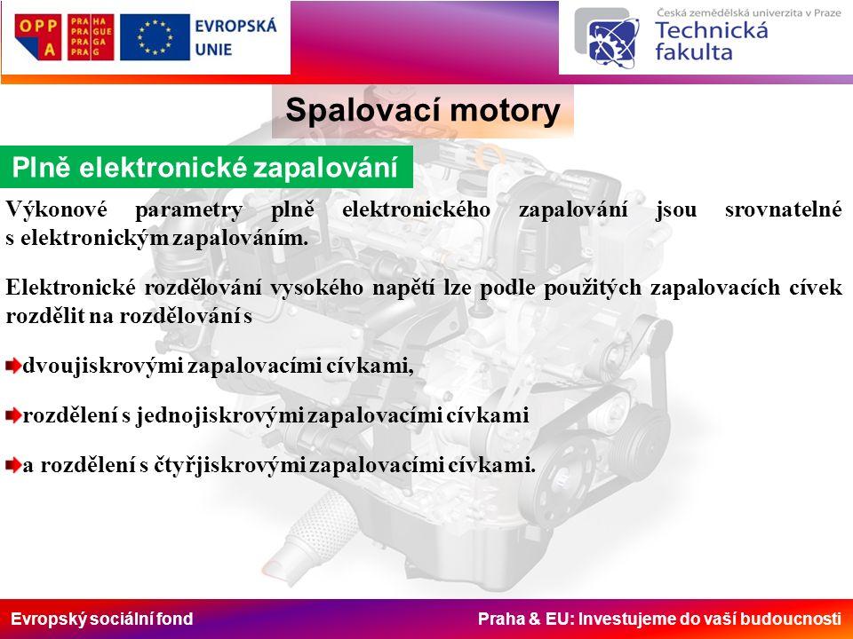 Evropský sociální fond Praha & EU: Investujeme do vaší budoucnosti Spalovací motory Plně elektronické zapalování Výkonové parametry plně elektronického zapalování jsou srovnatelné s elektronickým zapalováním.