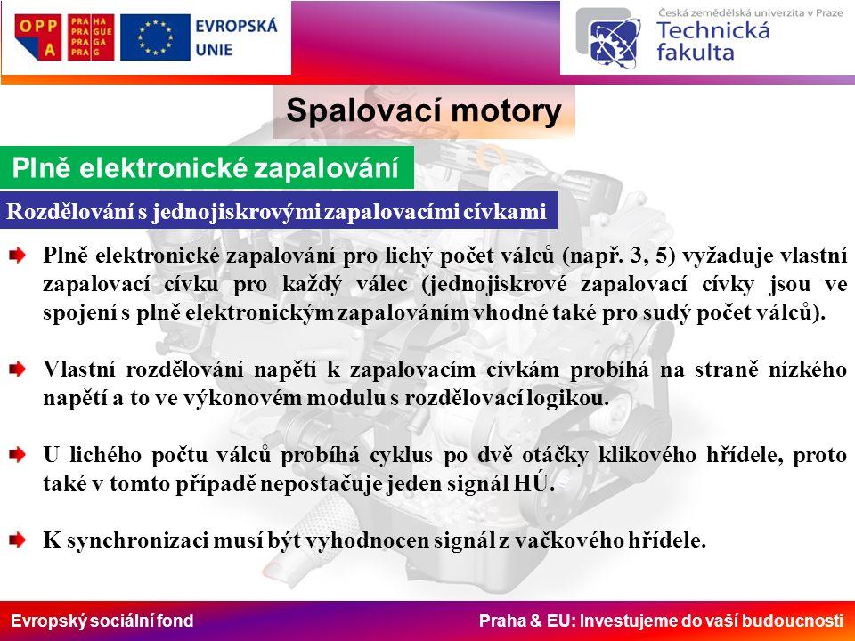 Evropský sociální fond Praha & EU: Investujeme do vaší budoucnosti Spalovací motory Plně elektronické zapalování Rozdělování s jednojiskrovými zapalovacími cívkami Plně elektronické zapalování pro lichý počet válců (např.