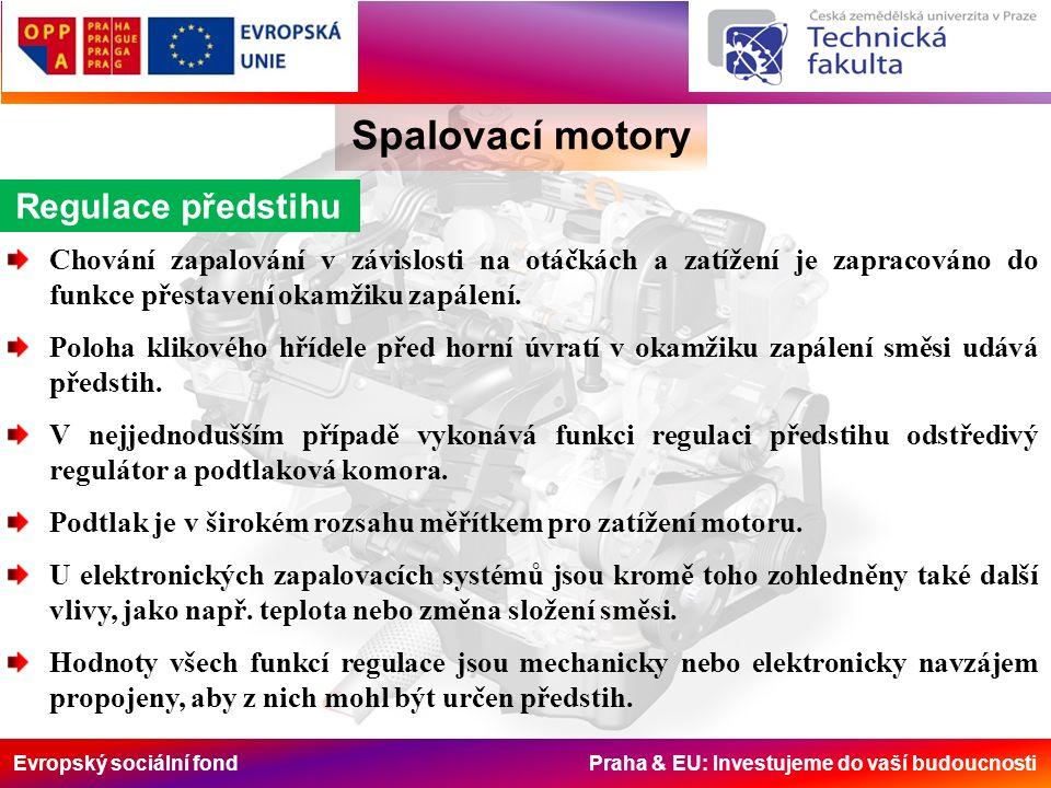 Evropský sociální fond Praha & EU: Investujeme do vaší budoucnosti Spalovací motory Regulace předstihu Chování zapalování v závislosti na otáčkách a zatížení je zapracováno do funkce přestavení okamžiku zapálení.