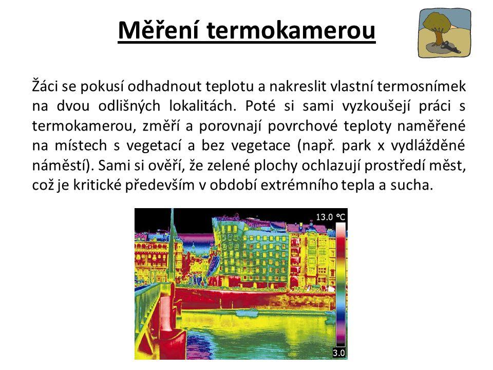 Měření termokamerou Žáci se pokusí odhadnout teplotu a nakreslit vlastní termosnímek na dvou odlišných lokalitách.