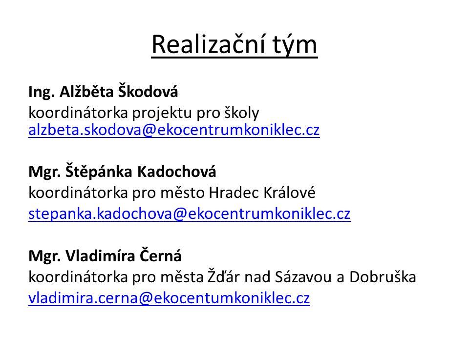 Realizační tým Ing. Alžběta Škodová koordinátorka projektu pro školy alzbeta.skodova@ekocentrumkoniklec.cz alzbeta.skodova@ekocentrumkoniklec.cz Mgr.