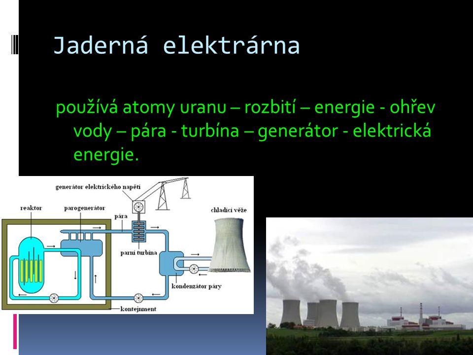 Jaderná elektrárna používá atomy uranu – rozbití – energie - ohřev vody – pára - turbína – generátor - elektrická energie.