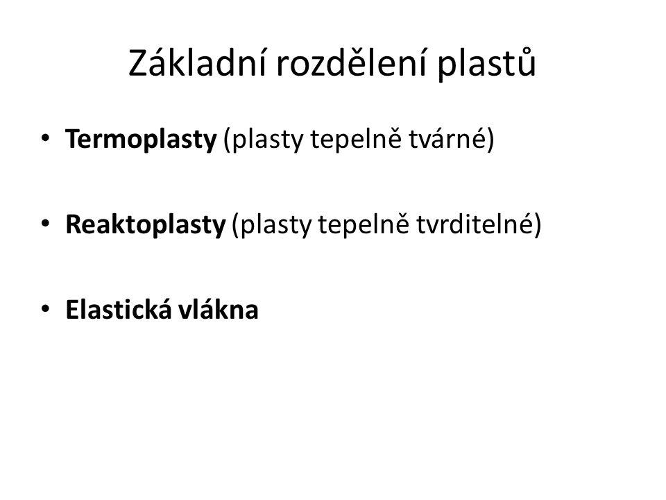 Základní rozdělení plastů Termoplasty (plasty tepelně tvárné) Reaktoplasty (plasty tepelně tvrditelné) Elastická vlákna