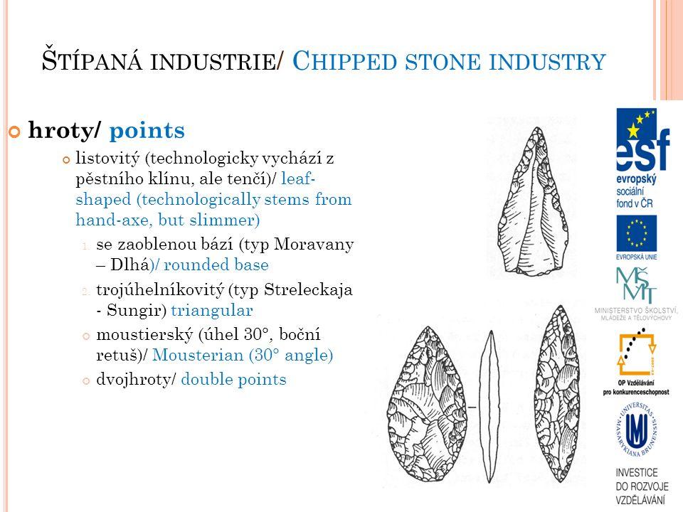 hroty/ points listovitý (technologicky vychází z pěstního klínu, ale tenčí)/ leaf- shaped (technologically stems from hand-axe, but slimmer) 1.